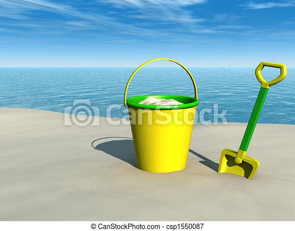 Bola y pala en la playa - csp1550087