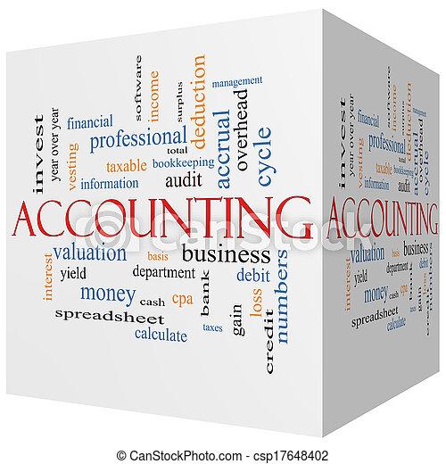 cubo, palavra, conceito, contabilidade, nuvem, 3d - csp17648402
