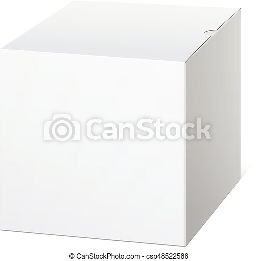 Una caja de cartón realista. En forma de cubo. - csp48522586
