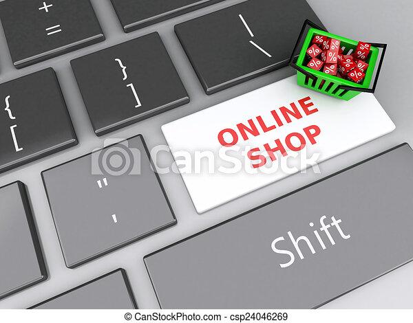Cesta de compras 3D con cubos rojos en el teclado de la computadora. En línea - csp24046269