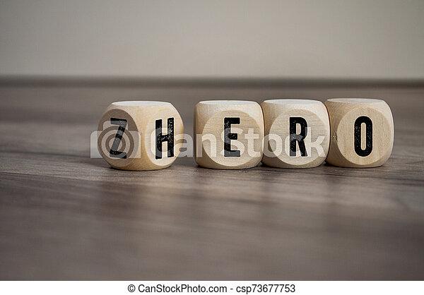 cubos, dados, cero, plano de fondo, de madera, héroe, palabras - csp73677753
