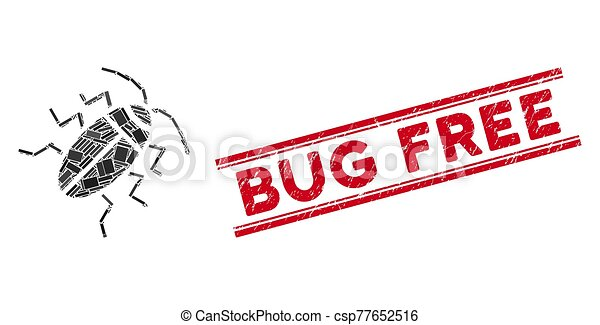 Cucaracha Mosaic and Grunge Bug Free Stamp Seal with Lines - csp77652516