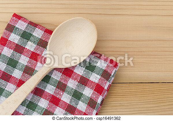 cucchiaio legno, checkered, tavola., tovagliolo - csp16491362