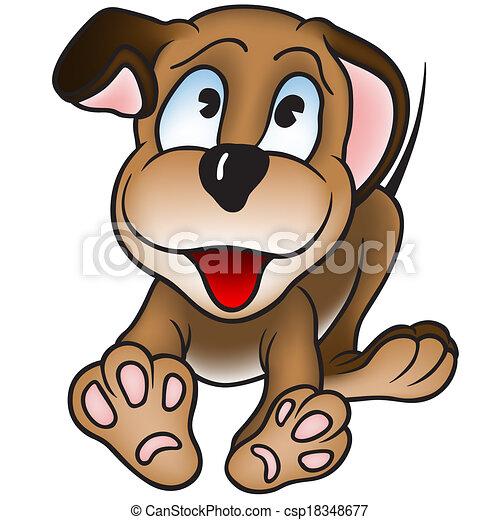 Cucciolo Cane Colorato Illustrazione Cane Allegro Vettore