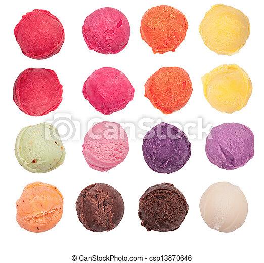 Coleccion de helados, aislados de fondo blanco - csp13870646