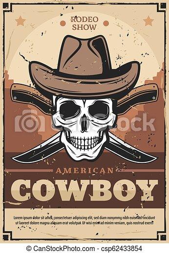 Calavera de vaquero con sombrero con cuchillos cruzados - csp62433854
