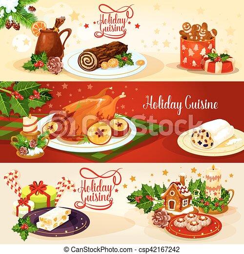 Cucina, menu, disegno, vacanza, bandiera, natale. Casa, noce, torta ...
