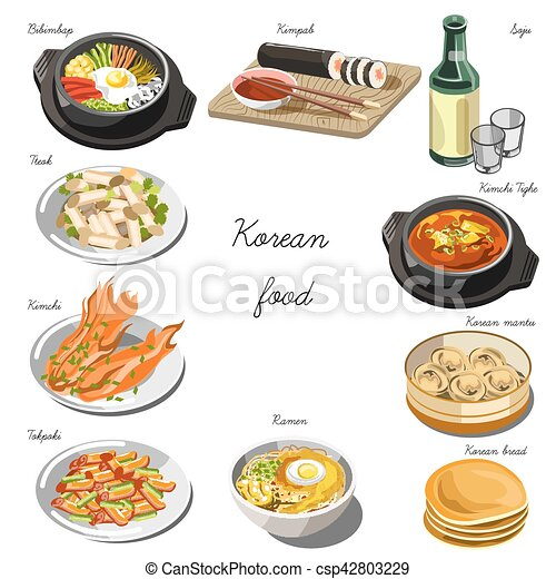 Cucina, piatti, cibo, set., collezione, coreano. Caffè, cucina ...