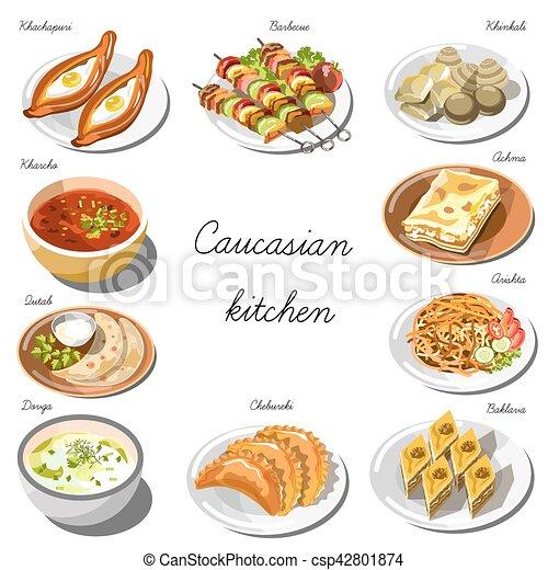 cucina, piatti, cibo, set., collezione, caucasico