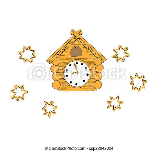 Ilustración vectorial reloj cucú de madera - csp22042024