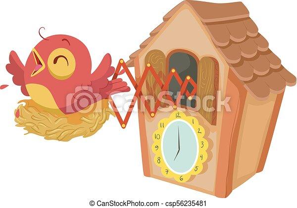 Ilustración de reloj cucú - csp56235481