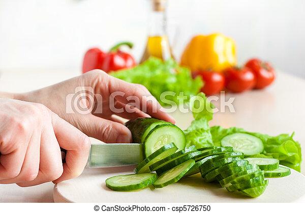 Cucumber chopping process - csp5726750