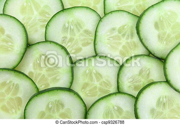 Cucumber slices background - csp9326788