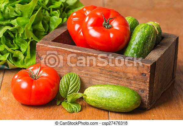 Cucumbers, Tomatoes and Butterhead Lettuce in Wooden Box - csp27476318