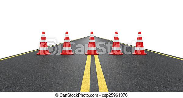Camino con con conos de tráfico - csp25961376