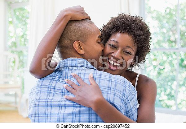 cuddling, loro, coppia, letto, felice - csp20897452