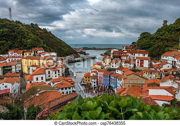 Cudillero village top view in Asturias - csp76438355