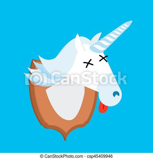 Unicornio trofeo de cazador. La cabeza es un animal fantástico con cuernos en escudo. Espantapájaros bestia mágica - csp45409946