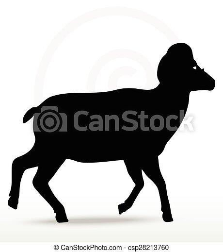 Una gran silueta de ovejas en pose andante - csp28213760