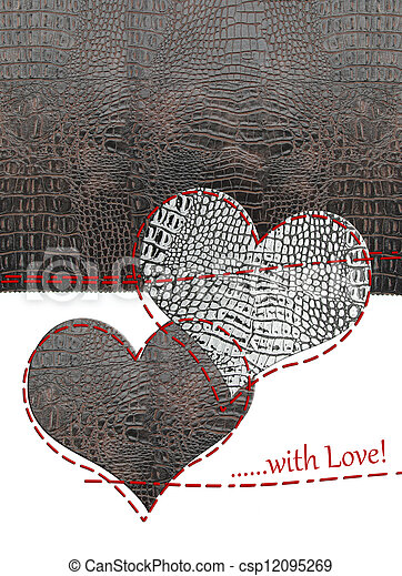 cuero, corazones, amor, tarjeta - csp12095269