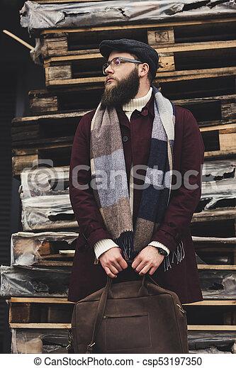 cuero, elegante, hombre, bolsa