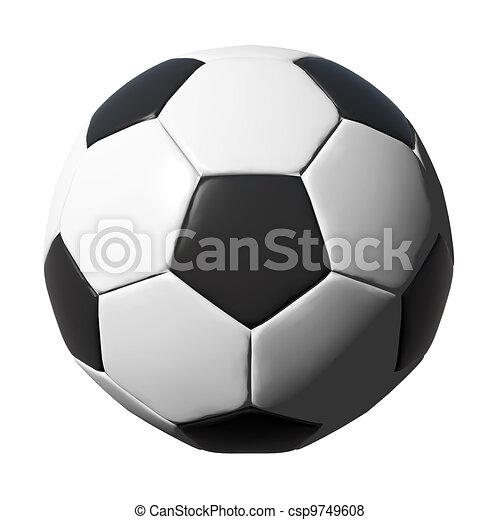 Una pelota de fútbol de cuero aislada en blanco - csp9749608
