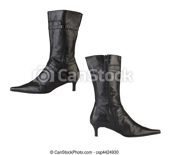 Botas de cuero femeninos aisladas - csp4424930
