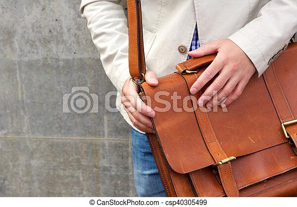 cuero, hombro, hombre, bolsa