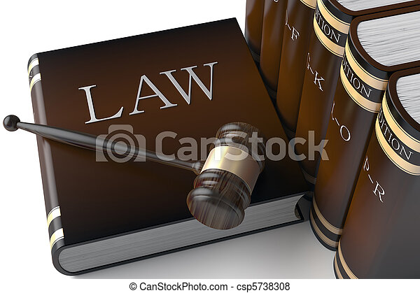 cuero, libros, ley, fila - csp5738308