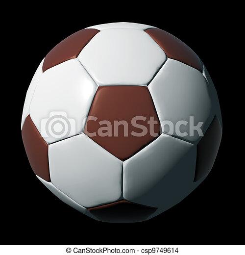 Una pelota de fútbol de cuero aislada en negro - csp9749614