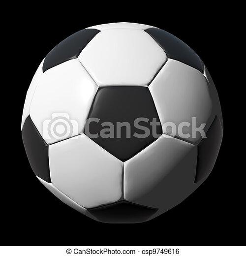Una pelota de fútbol de cuero aislada en negro - csp9749616