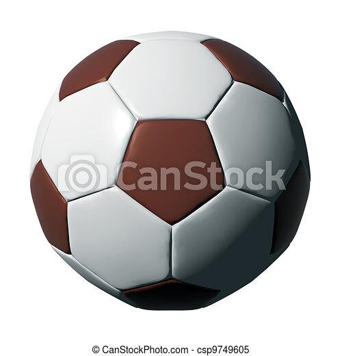 Una pelota de fútbol de cuero aislada en negro - csp9749605