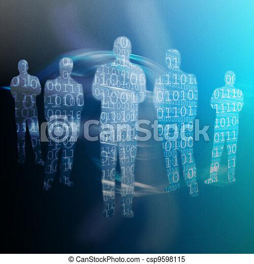 Código binario escrito en formas de cuerpo humano - csp9598115