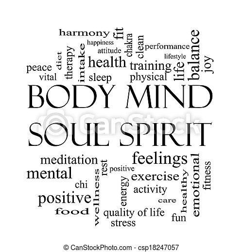El espíritu espiritual de la mente corporal el concepto de nube en blanco y negro - csp18247057