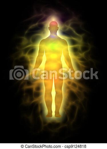 Hombre - cuerpo de energía - aura - csp9124818