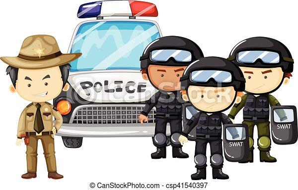 Policía y equipo SWAT en uniforme - csp41540397