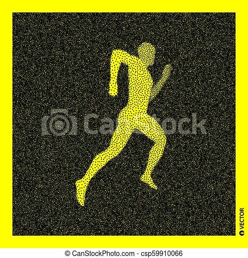 Corredor. Modelo corporal 3D. Diseño negro y amarillo. Ilustración de vectores. - csp59910066