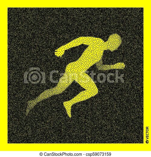 Corredor. Modelo corporal 3D. Diseño negro y amarillo. Ilustración de vectores. - csp59073159