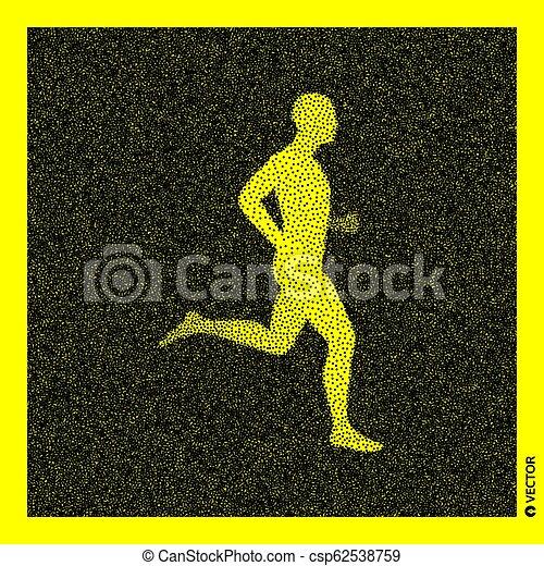 Corredor. Modelo corporal 3D. Diseño negro y amarillo. Ilustración de vectores. - csp62538759