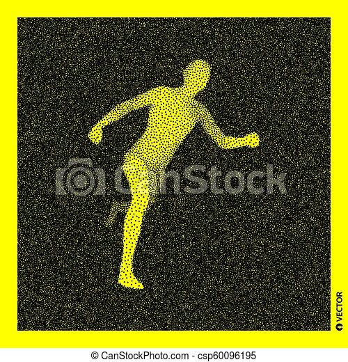 Corredor. Modelo corporal 3D. Diseño negro y amarillo. Ilustración de vectores. - csp60096195