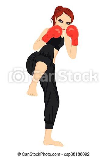 Retrato corporal completo de kickboxer femenino - csp38188092