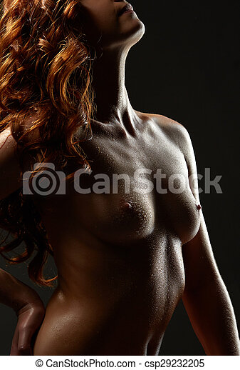 Cuerpo Mujer Pelirrojo Imagen Desnudo Mojado