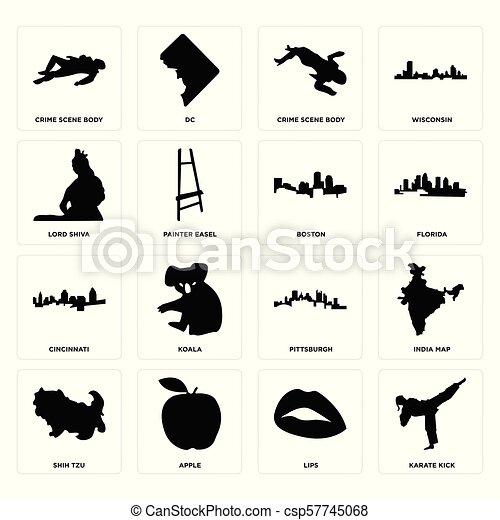 Patada de karate, labios, shih tzu, pittsburgh, cincinnati, boston, Lord Shiva, escena del crimen cuerpo, iconos corporales - csp57745068
