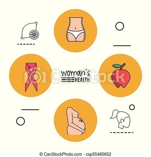Cuerpo, rosa, mujer, manzana, cáncer, embarazada, plano de fondo ...