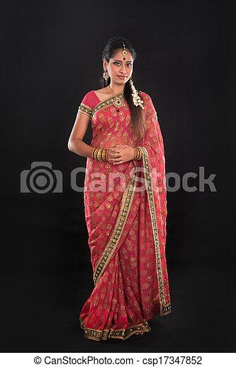 cuerpo, sari, indio, tradicional, lleno, niña - csp17347852