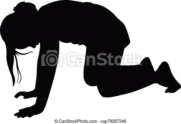 cuerpo, vector, niña, abajo, arrodillar, silueta - csp79287246