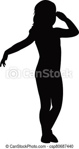 cuerpo, vector, silueta, niña - csp80687440