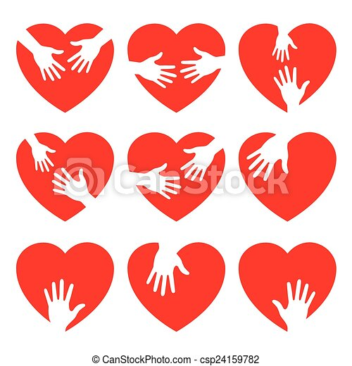 Un set de icono del corazón con manos atentas - csp24159782