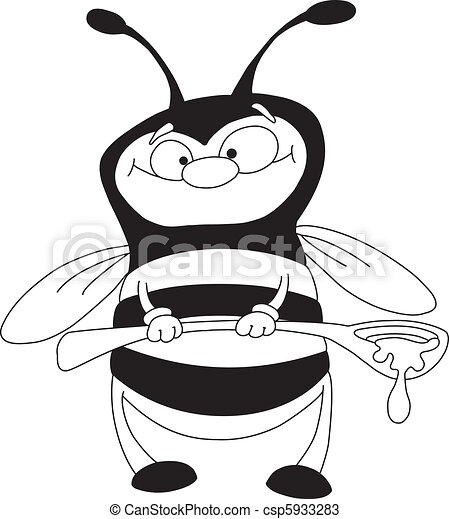 cuillère, esquissé, abeille - csp5933283