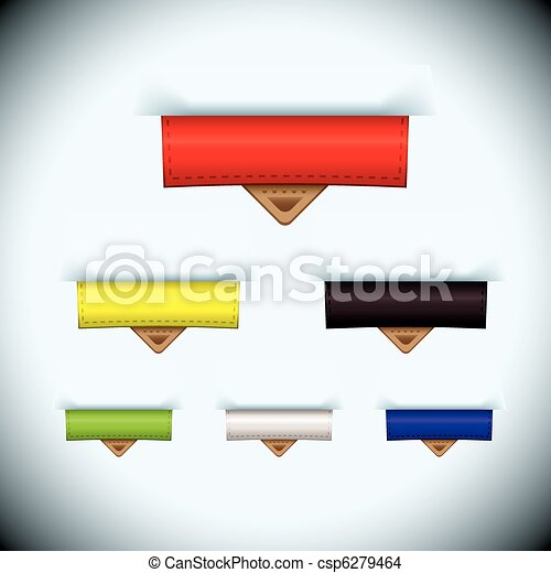 cuir, étiquette papier, onglet, icône - csp6279464